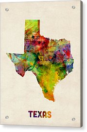 Texas Watercolor Map Acrylic Print by Michael Tompsett