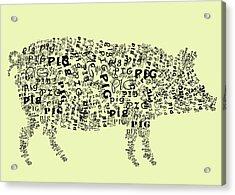 Text Pig Acrylic Print by Heather Applegate