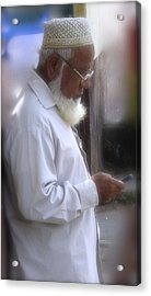Texting On The Corner Acrylic Print by Russell Smidt