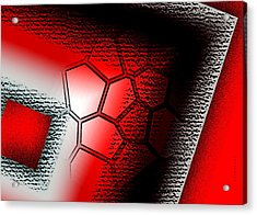 Texture In White Black And Red Design Acrylic Print by Mario Perez