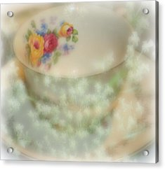 Textured Tea Cup Acrylic Print by Barbara S Nickerson