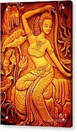 Thai Style Art Carving Wood Thailand. Acrylic Print by Jeng Suntorn niamwhan