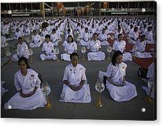 Thai Women Pray For Peace Acrylic Print by David Longstreath