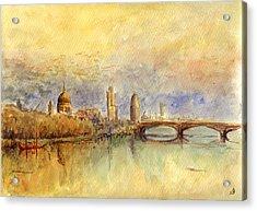 Thames London Acrylic Print by Juan  Bosco