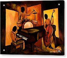 The 1st Jazz Trio Acrylic Print by Larry Martin