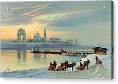 The Angara Embankment In Irkutsk Acrylic Print by Nikolai Florianovich Dobrovolsky
