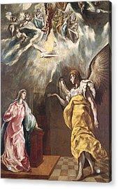 The Annunciation Acrylic Print by El Greco Domenico Theotocopuli