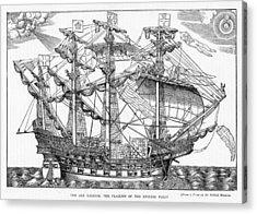 The Ark Raleigh The Flagship Of The English Fleet From Leisure Hour Acrylic Print by English School