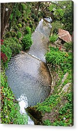 The Artificial River From Balchik Botanical Garden Acrylic Print by Cristina-Velina Ion