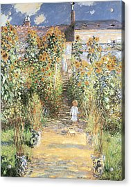 The Artist's Garden At Vetheuil Acrylic Print by Claude Monet