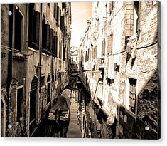 The Back Canals Of Venice Acrylic Print by Bill Cannon