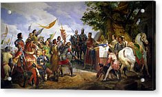 The Battle Of Bouvines Acrylic Print by Emile Jean Horace Vernet