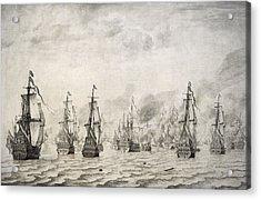 The Battle Of Dunkirk, 1659, By Willem Van De Velde I1611-1693 Acrylic Print by Bridgeman Images