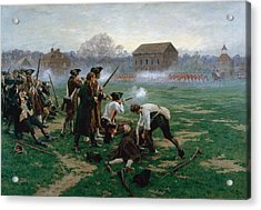 The Battle Of Lexington, 19th April 1775 Acrylic Print by William Barnes Wollen