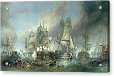 The Battle Of Trafalgar, 1805 Acrylic Print by Clarkson RA Stanfield