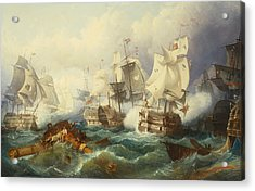 The Battle Of Trafalgar Acrylic Print by Philip James de Loutherbourg