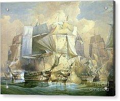 The Battle Of Trafalgar Acrylic Print by William John Huggins