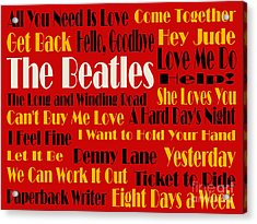 The Beatles 20 Classic Rock Songs 2 Acrylic Print by Andee Design