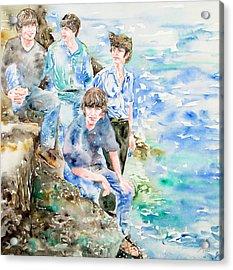 The Beatles At The Sea Watercolor Portrait Acrylic Print by Fabrizio Cassetta
