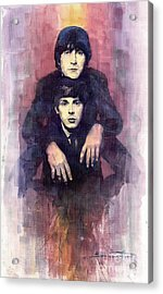 The Beatles John Lennon And Paul Mccartney Acrylic Print by Yuriy  Shevchuk
