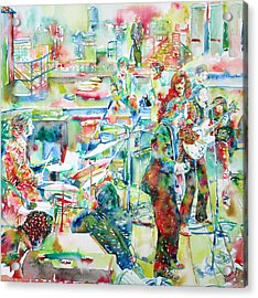 The Beatles Rooftop Concert - Watercolor Painting Acrylic Print by Fabrizio Cassetta