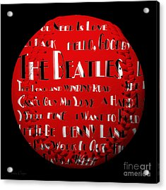 The Beatles Songs Baseball Square Acrylic Print by Andee Design