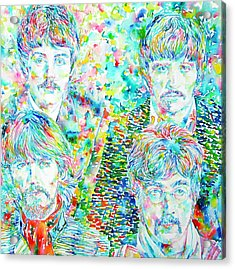 The Beatles - Watercolor Portrait.1 Acrylic Print by Fabrizio Cassetta