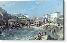 The Beginning Of Sea Swimming In The Old Port Of Biarritz  Acrylic Print by Jean Jacques Alban de Lesgallery