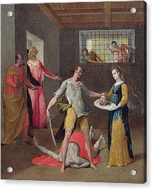 The Beheading Of St. John The Baptist Oil On Canvas Acrylic Print by Italian School