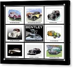 Bentley Poster Of Classics Acrylic Print by Jack Pumphrey