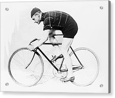 The Bicyclist - 1914 Acrylic Print by Daniel Hagerman