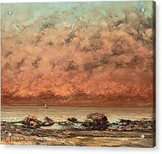 The Black Rocks At Trouville Acrylic Print by Gustave Cobert
