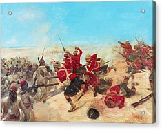 The Black Watch At The Battle Acrylic Print by Henri-Louis Dupray