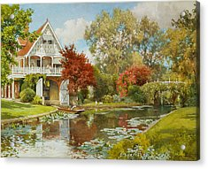 The Boathouse Acrylic Print by Alfred Parsons