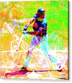 The Boys Of Summer 5d28228 The Batter Square Acrylic Print by Wingsdomain Art and Photography