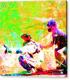 The Boys Of Summer 5d28228 The Catcher Square Acrylic Print by Wingsdomain Art and Photography