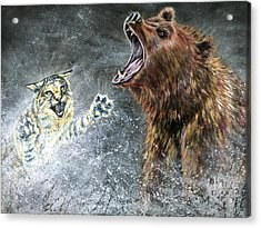 The Brawl Acrylic Print by Teshia Art