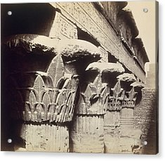 The Capitals Of The Portico Of The Temple Of Khnum In Esna Acrylic Print by Francis Bedford