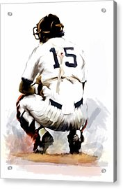 The Captain  Thurman Munson Acrylic Print by Iconic Images Art Gallery David Pucciarelli