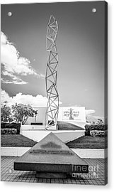 The Challenger Memorial 2 - Bayfront Park - Miami - Black And White Acrylic Print by Ian Monk
