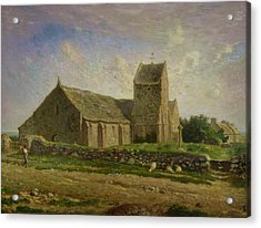 The Church At Greville Acrylic Print by Jean-Francois Millet