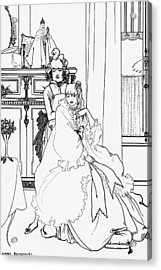 The Coiffing Acrylic Print by Aubrey Beardsley