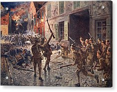 The Coldstream Guards At Landrecies Acrylic Print by William Barnes Wollen
