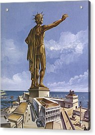 The Colossus Of Rhodes Colour Litho Acrylic Print by English School