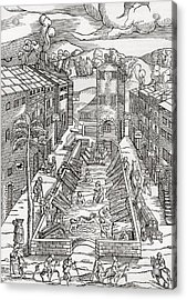 The Common Spa Of The Poor And Infirm In Plombiere, France.  After The Woodcut By Thomas Guinta De Acrylic Print by Bridgeman Images
