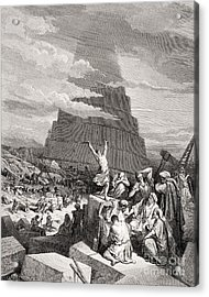 The Confusion Of Tongues Acrylic Print by Gustave Dore
