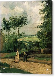The Courtyard At Louveciennes Acrylic Print by Camille Pissarro