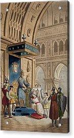 The Creating Of A Knight Templar Acrylic Print by Italian School