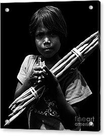 The Curse Of Poverty  Acrylic Print by Venura Herath