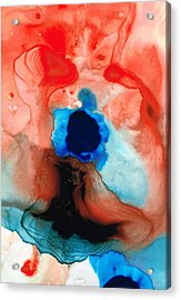 The Dancer - Abstract Red And Blue Art By Sharon Cummings Acrylic Print by Sharon Cummings